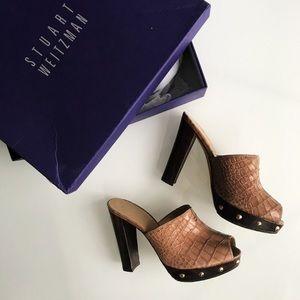$192 Stuart Weitzman Croc-embossed Mules 36 / 6